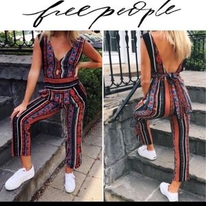 Free People  All Shook Up Jumpsuit red floral boho